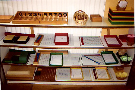 montessori mathematics shelf in a classroom